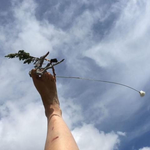 Elisabeth Fux Mattig, in der Landschaft, Luftspielzeuge 3, 2019