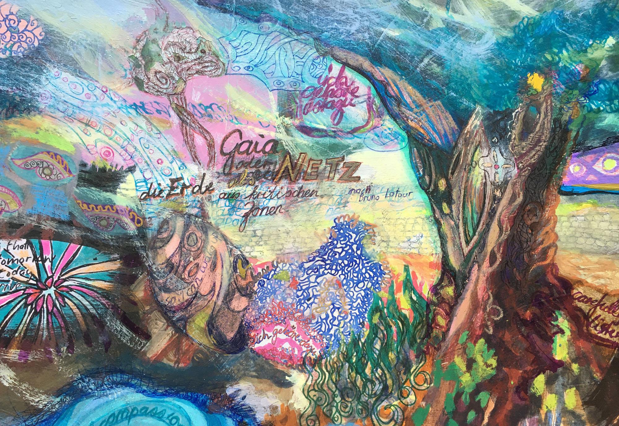 Elisabeth Fux Mattig, Gaia oder die Erde als Netz aus kritischen Zonen, Mischtechnik auf Karton, 2019