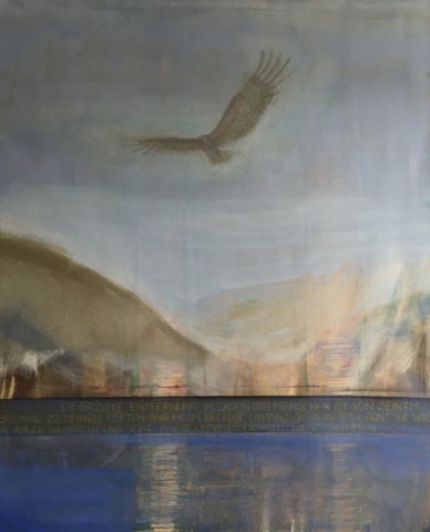 Elisabeth Fux Mattig, Healing, Eagle, Pigment mit Ei auf Leinwand, 120x100cm, 2019